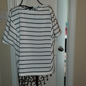 White with black stripes top